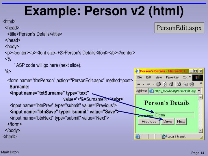 Example: Person v2 (html)