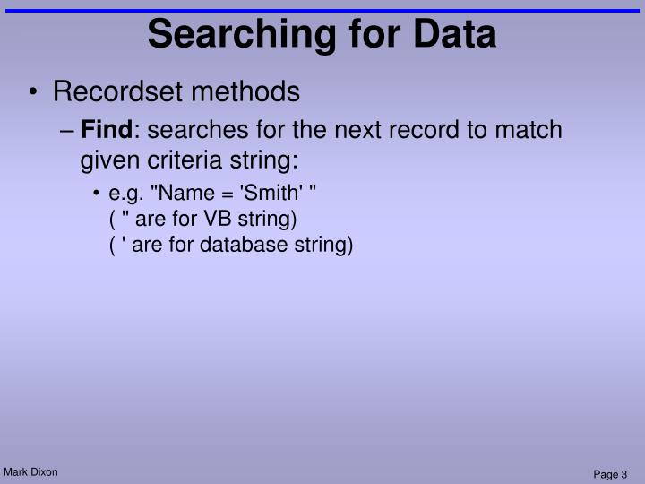 Searching for data