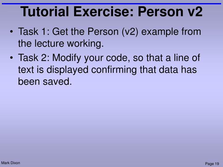Tutorial Exercise: Person v2