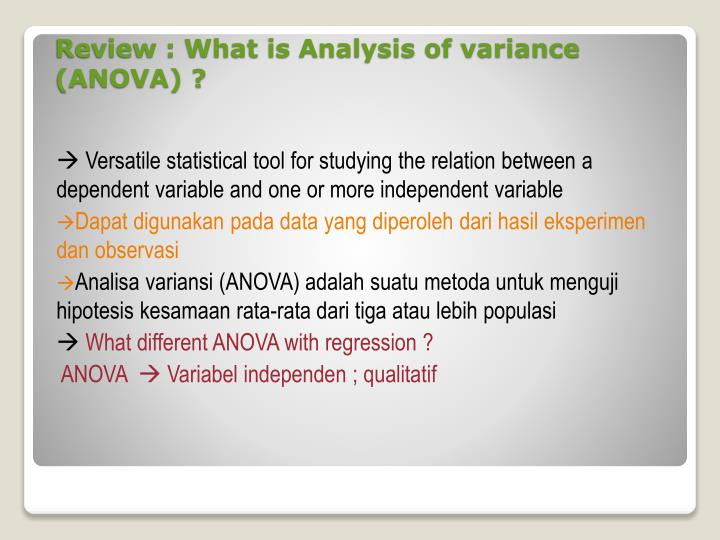 Review what is analysis of variance anova
