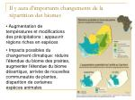 il y aura d importants changements de la r partition des biomes