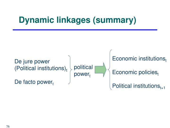 Dynamic linkages (summary)