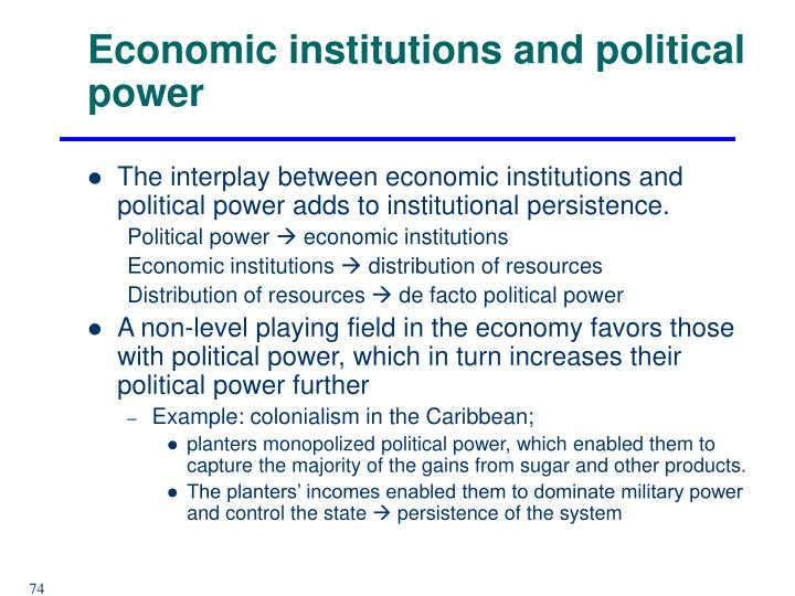 Economic institutions and political power
