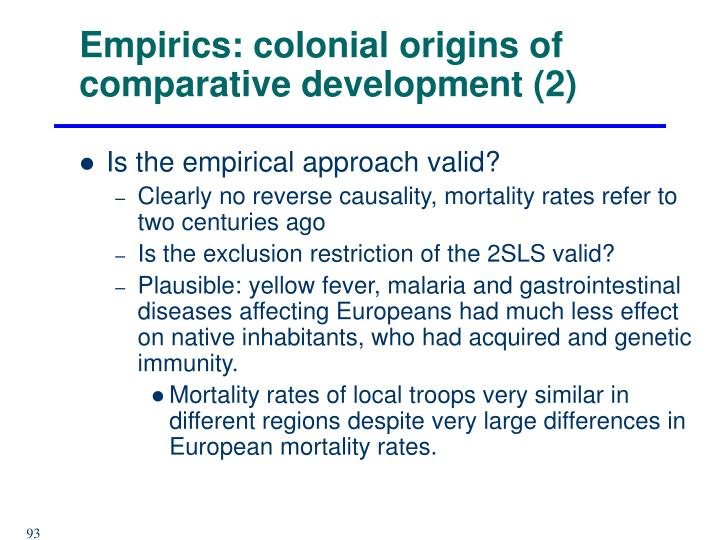 Empirics: colonial origins of comparative development (2)