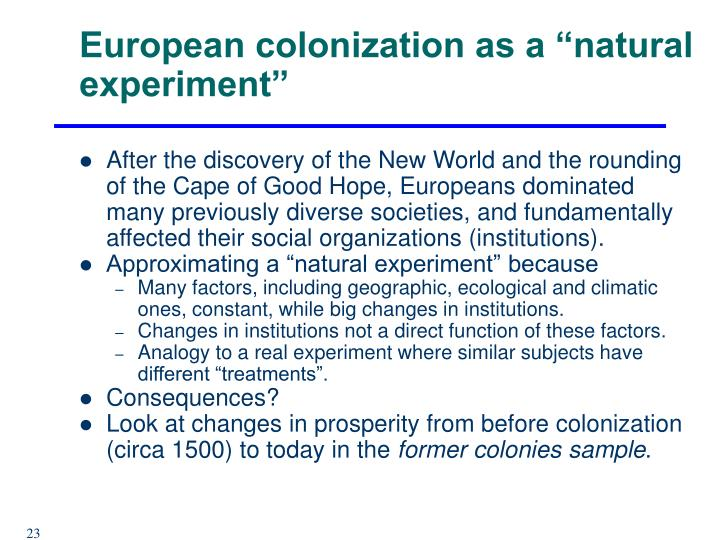 "European colonization as a ""natural experiment"""