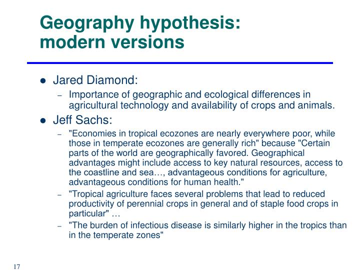 Geography hypothesis: