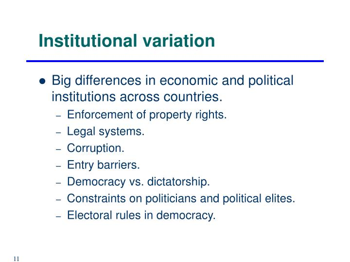 Institutional variation