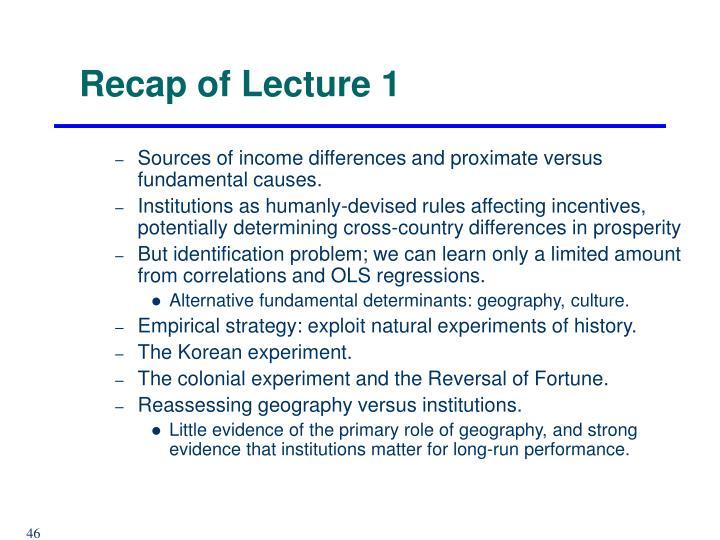 Recap of Lecture 1