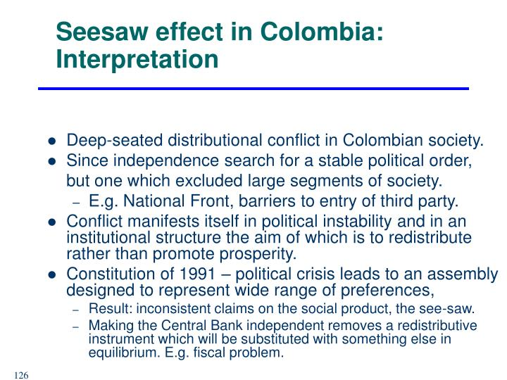 Seesaw effect in Colombia: Interpretation
