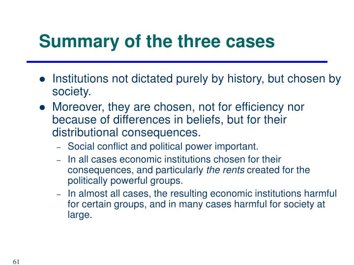 Summary of the three cases