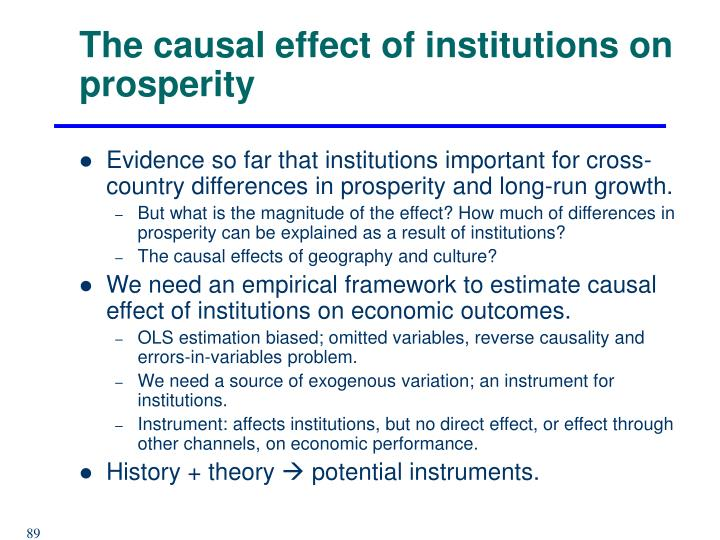 The causal effect of institutions on prosperity