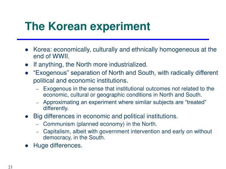 The Korean experiment