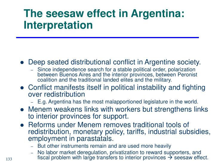 The seesaw effect in Argentina: Interpretation