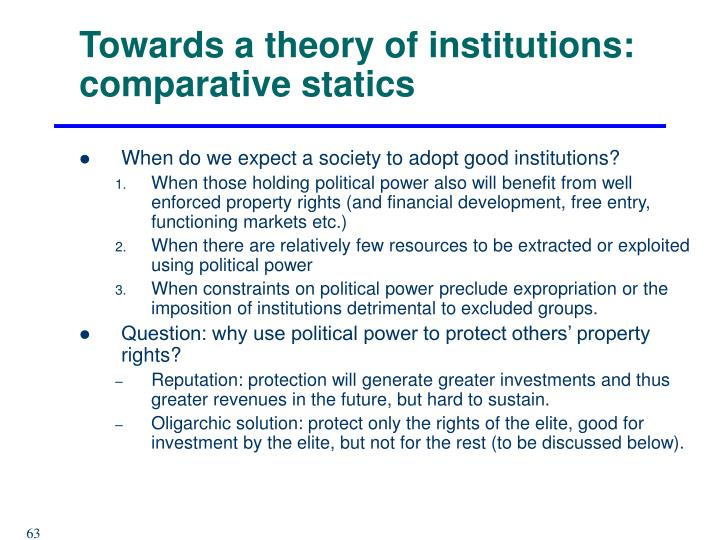 Towards a theory of institutions: comparative statics