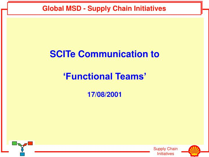 global msd supply chain initiatives