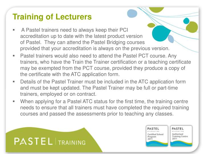 Training of Lecturers