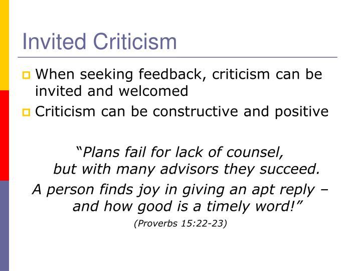 Invited Criticism