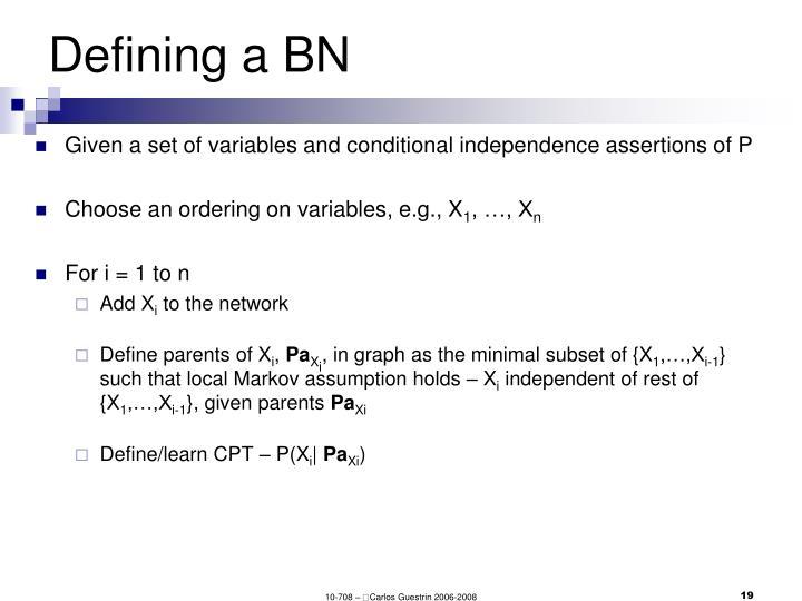 Defining a BN