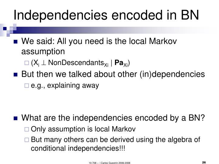 Independencies encoded in BN