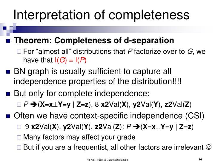 Interpretation of completeness