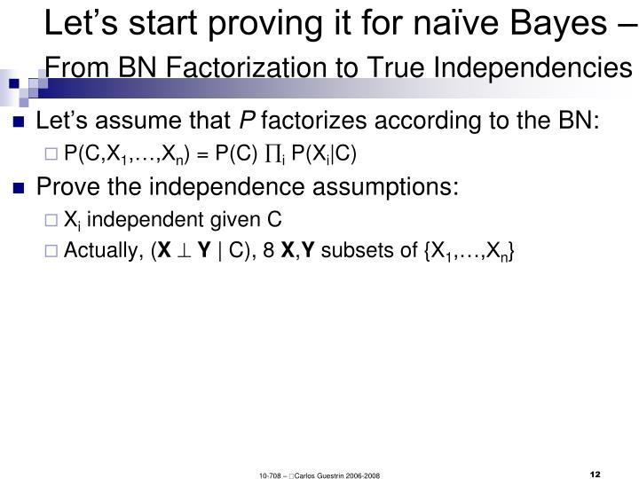 Let's start proving it for naïve Bayes –