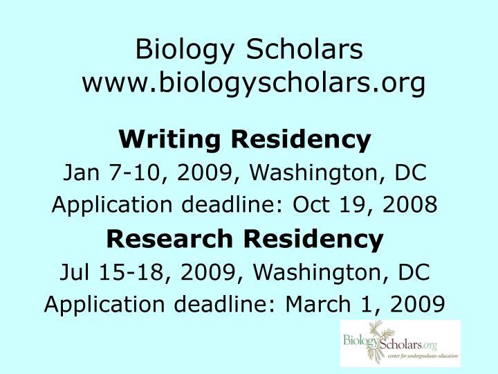 Biology Scholars