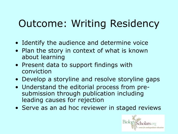 Outcome: Writing Residency