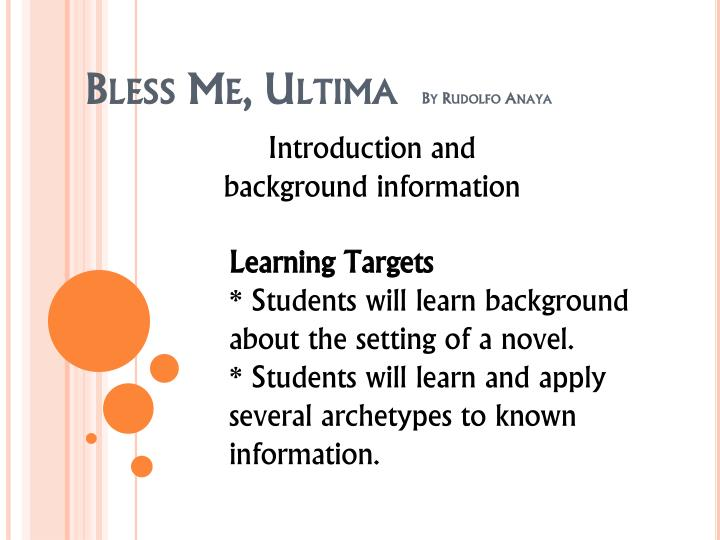 "an analysis of allusions in bless me ultima by rudolfo anaya Literary analysis of bless me, ultima this book report revolves around the understanding of the novel ""bless me, ultima"" by rudolfo anaya the topic of this book report will revolve around your understanding of your chosen novel (""literary analysis of bless me, ultima"" by rudolfo anaya ) and your own analysis of the events, people, and circumstances in the story."