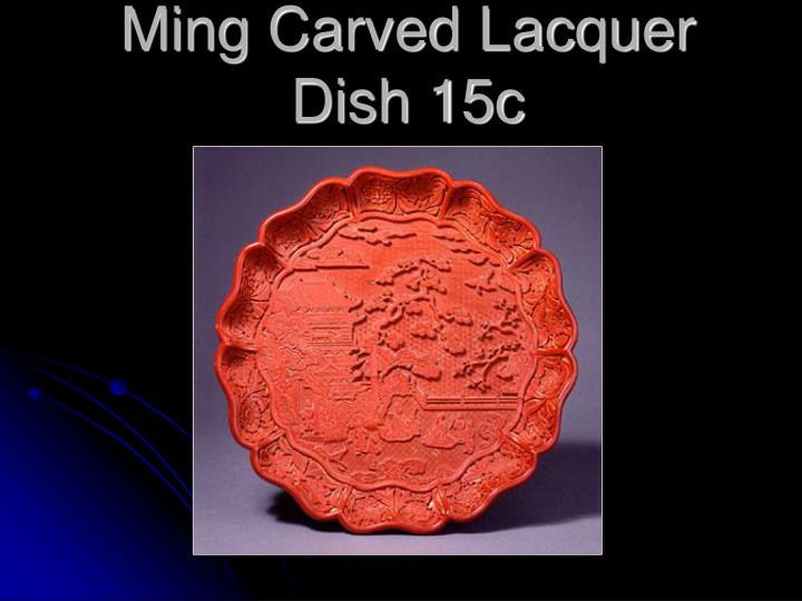Ming Carved Lacquer Dish 15c