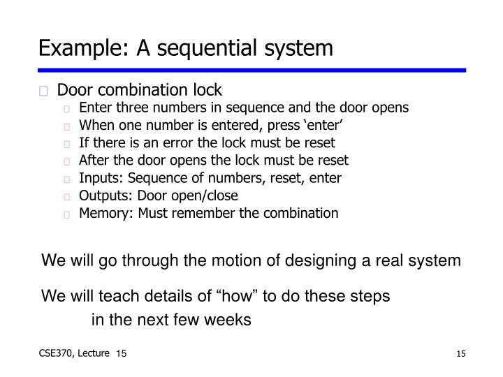 Example: A sequential system