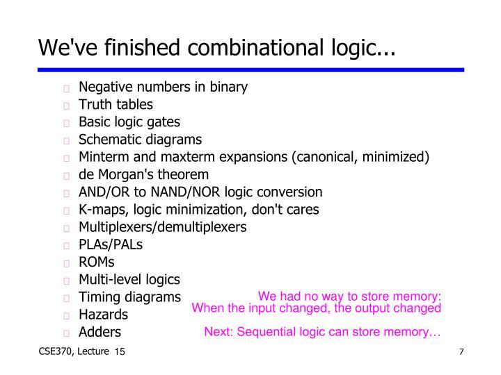 We've finished combinational logic...