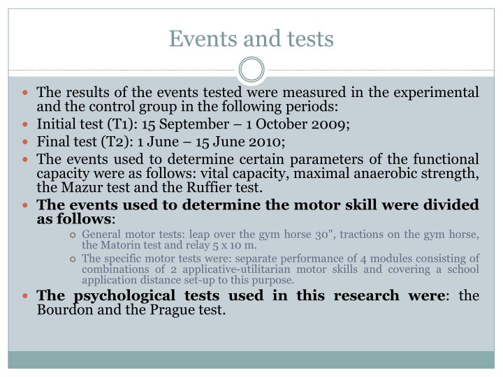 Events and tests