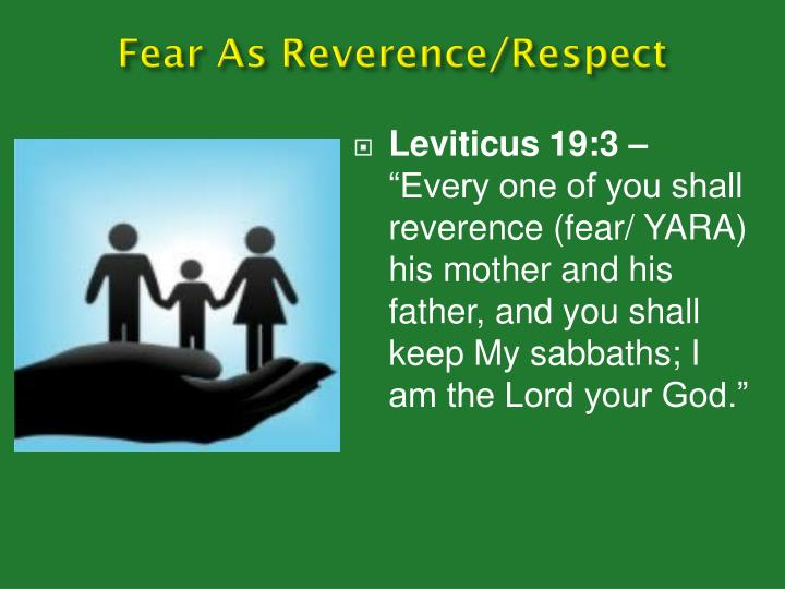 Fear As Reverence/Respect