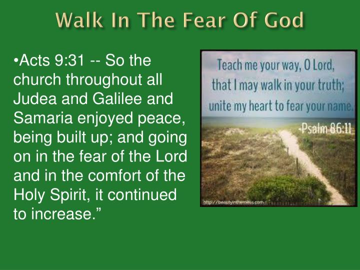 Walk In The Fear Of God