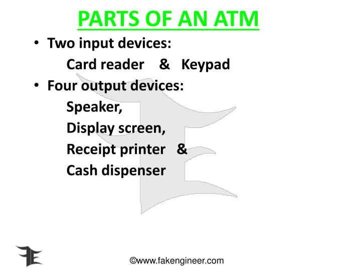 PARTS OF AN ATM