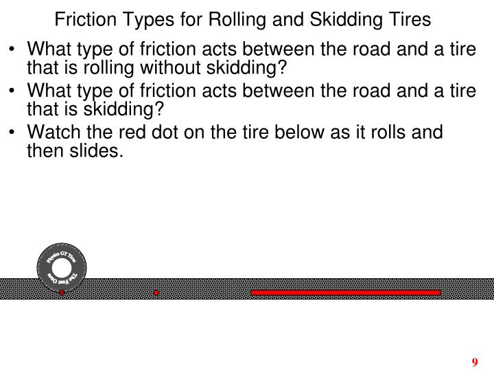 Friction Types for Rolling and Skidding Tires
