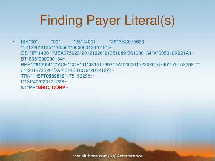 Finding Payer Literal(s)