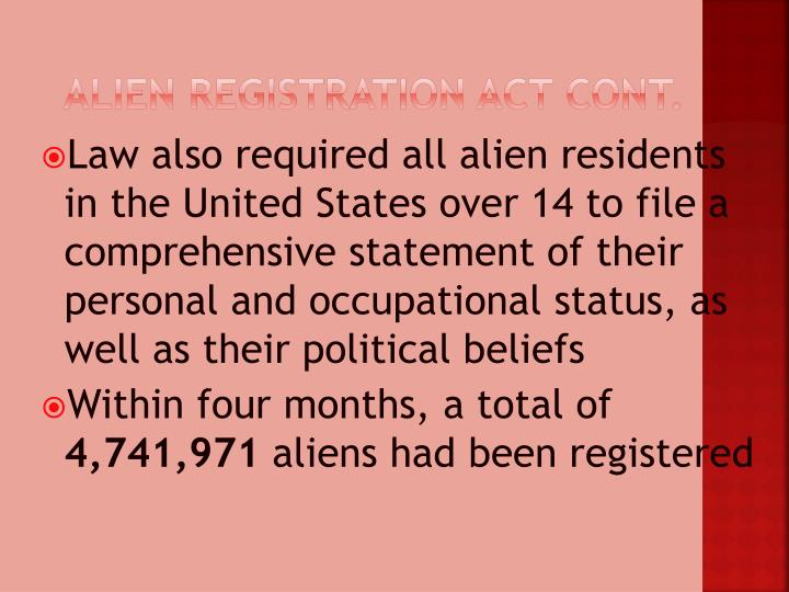 Alien Registration Act cont.