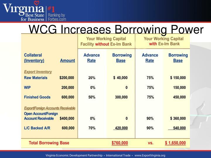 WCG Increases Borrowing Power