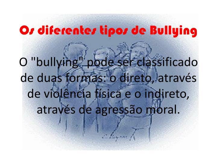 Os diferentes tipos de Bullying