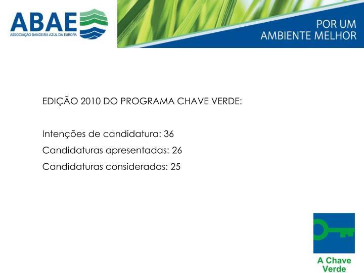 EDIÇÃO 2010 DO PROGRAMA CHAVE VERDE: