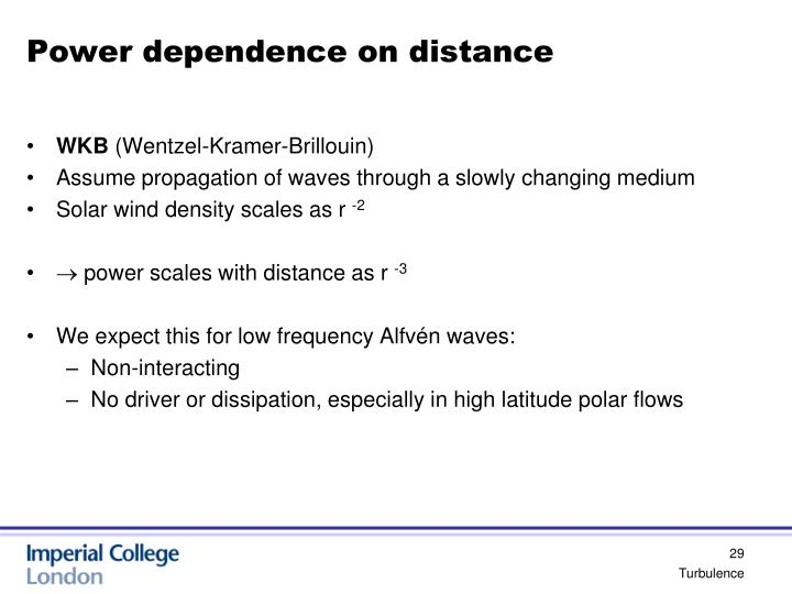 Power dependence on distance