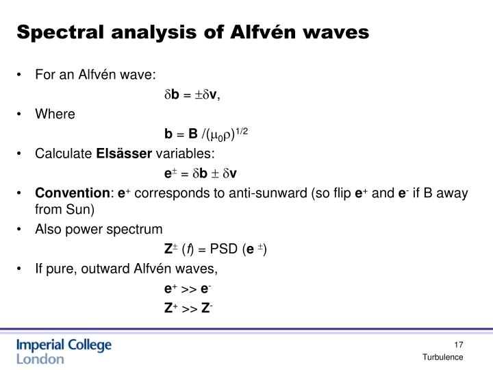Spectral analysis of Alfvén waves