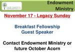 endowment ministry