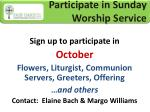 participate in sunday worship service