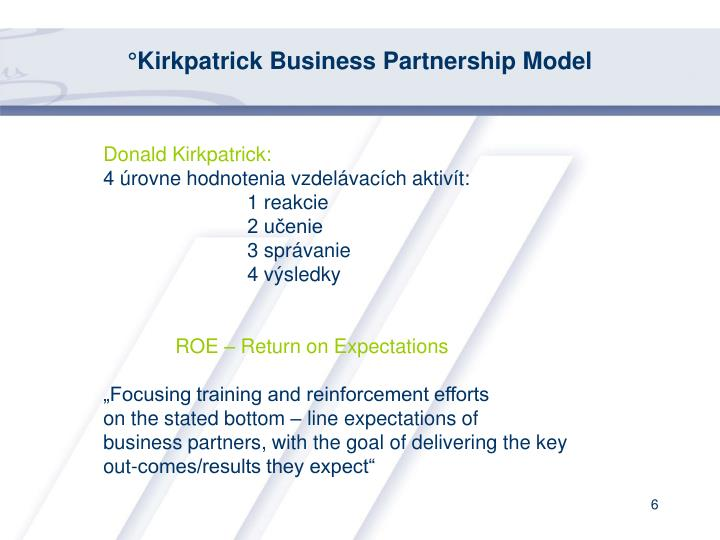 °Kirkpatrick Business Partnership Model