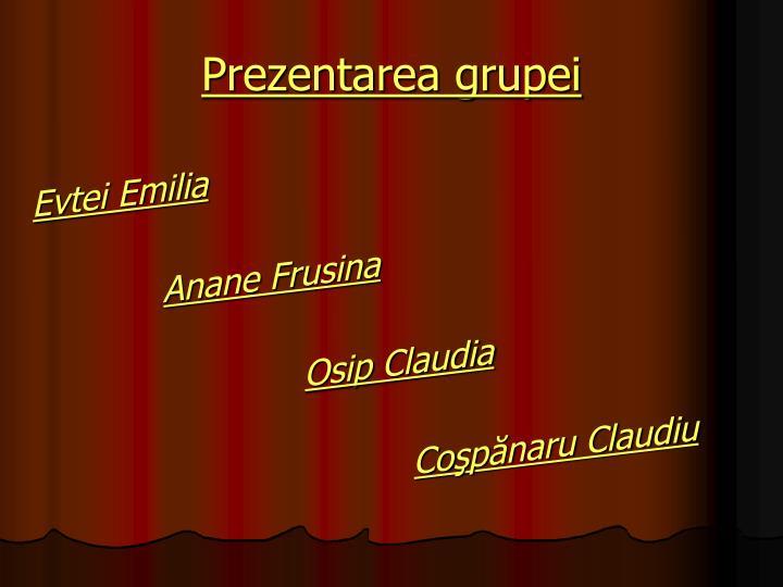 Prezentarea grupei