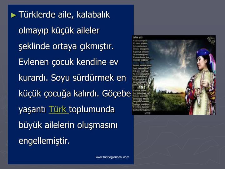 Türklerde aile, kalabalık olmayıp küçük aileler şeklinde ortaya çıkmıştır. Evlenen çocuk kendine ev kurardı. Soyu sürdürmek en küçük çocuğa kalırdı. Göçebe yaşantı