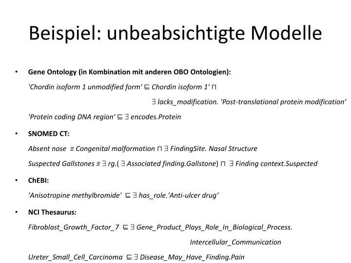 Beispiel: unbeabsichtigte Modelle