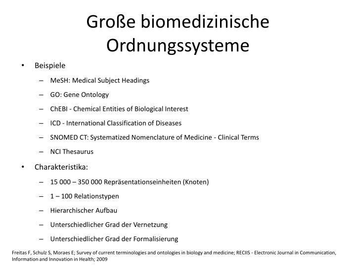 Große biomedizinische Ordnungssysteme